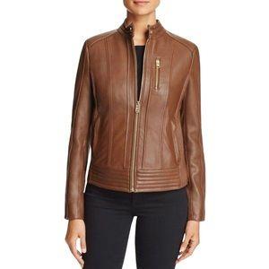 NWOT Michael Kors Snap Collar Leather Moto Jacket